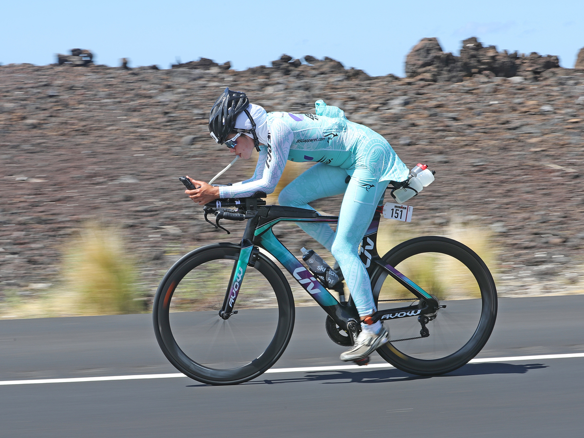 Shirin Gerami on her bike at the 2016 Ironman triathlon in Hawaii